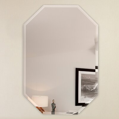 Frameless Wall Mirror fab glass and mirror octagon frameless wall mirror with 3 hooks