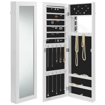 Wall Mount Jewelry Armoire Mirror rebrilliant wall mounted jewelry armoire with mirror & reviews