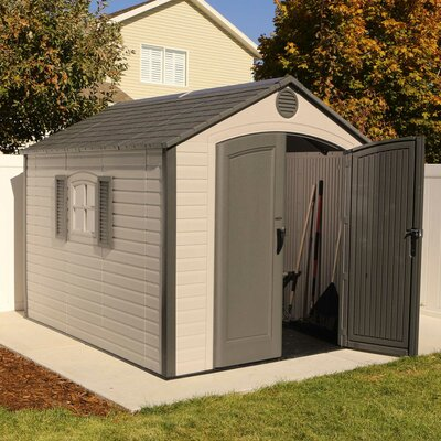 lifetime 7 ft 8 in w x 9 ft 8 in d plastic storage shed reviews wayfair - Garden Sheds 7 X 9