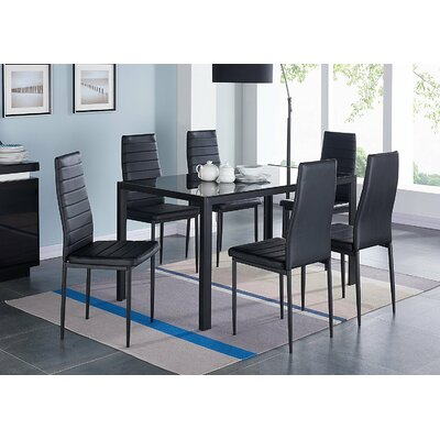 IDSOnlineCorp Modern Glass 7 Piece Dining Table Set Reviews