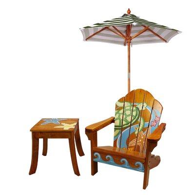 Teamson Kids Winland Sea Turtle Outdoor Wood Table U0026 Chair Set In Natural U0026  Reviews | Wayfair