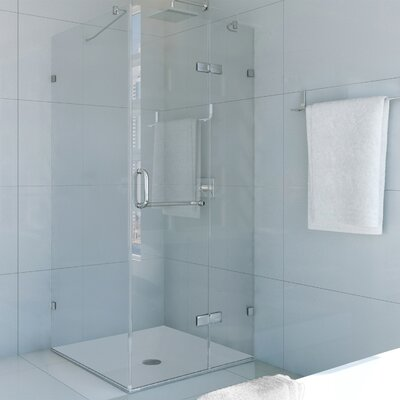 frameless shower enclosure with 375in clear glass and chrome hardware u0026 reviews wayfair