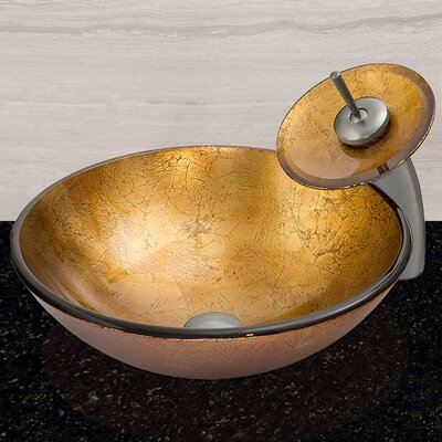 vigo liquid gold glass circular vessel bathroom sink u0026 reviews wayfair