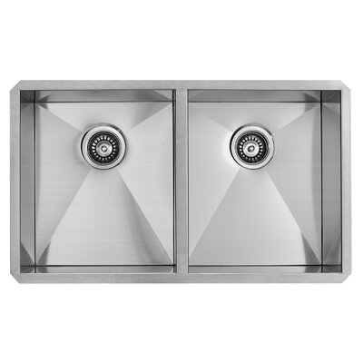 vigo alma 32 inch undermount double bowl 16 gauge stainless steel kitchen sink u0026 reviews wayfair
