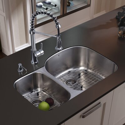 vigo 31 inch undermount double bowl 18 gauge stainless steel kitchen sink with edison chrome faucet two grids two strainers and soap dispenser
