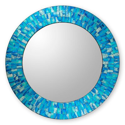Round Wall Mirrors novica glass tile round wall mirror & reviews | wayfair