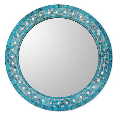 Turquoise Wall Mirror novica round flower motif glass mosaic tile wall mirror & reviews