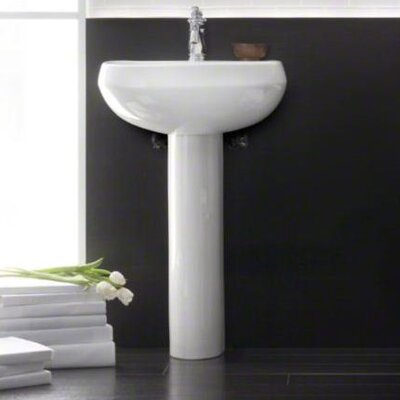 bathroom pedestal sinks kohler wellworth 22 pedestal bathroom sink with overflow