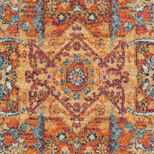 Bungalow Rose Ameesha Blue/Orange Area Rug