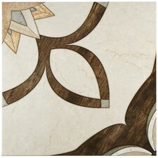 "Argas 17.75"" x 17.75"" Ceramic Patterned/Field Tile in Brown/Beige"