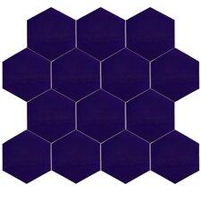"Hexitile 7"" x 8"" Ceramic Field Tile in Blue"