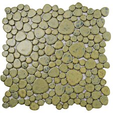 "Boulder 11"" x 11"" Porcelain Mosaic Tile in Green Moss"