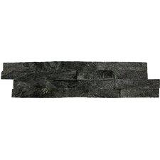 "6"" x 24"" Natural Stone Splitface Tile in Black (Set of 4)"