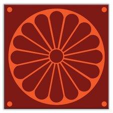 """Folksy Love 6"""" x 6"""" Satin Decorative Tile in Citrus Plate Burgundy-Orange"""