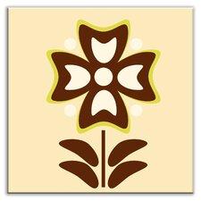 """Folksy Love 4-1/4"""" x 4-1/4"""" Glossy Decorative Tile in Gardenia Cream"""