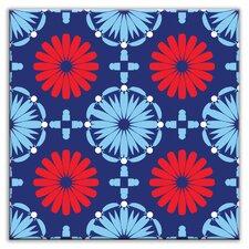 "Folksy Love 4-1/4"" x 4-1/4"" Satin Decorative Tile in Kaleidoscope Blue-Red"