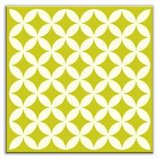"""Folksy Love 6"""" x 6"""" Satin Decorative Tile in Needle Point Avocado"""