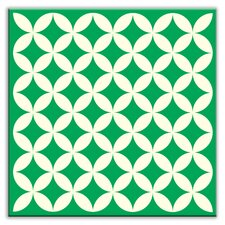 "Folksy Love 6"" x 6"" Satin Decorative Tile in Needle Point Green"