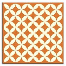"Folksy Love 6"" x 6"" Satin Decorative Tile in Needle Point Orange"