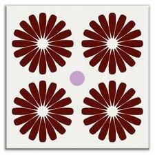 "Folksy Love 4-1/4"" x 4-1/4"" Satin Decorative Tile in Pinwheels Burgundy"