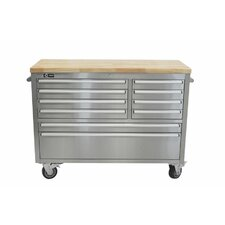 """Stainless Steel Rubberwood 48"""" Wide 8 Drawer Bottom Rollaway Chest"""
