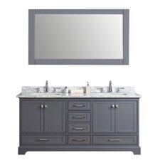"Lucia 72"" Double Sink Bathroom Vanity Set with Mirror"