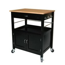 Kitchen Island Cart with Natural Butcher Block Bamboo Top