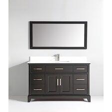 """Phoenix Stone 60"""" Single Bathroom Vanity with Mirror"""