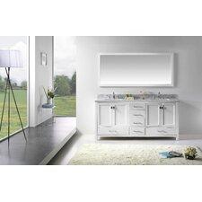 "Stoneham 72.8"" Double Bathroom Vanity Set with Carrara White Top and Mirror"