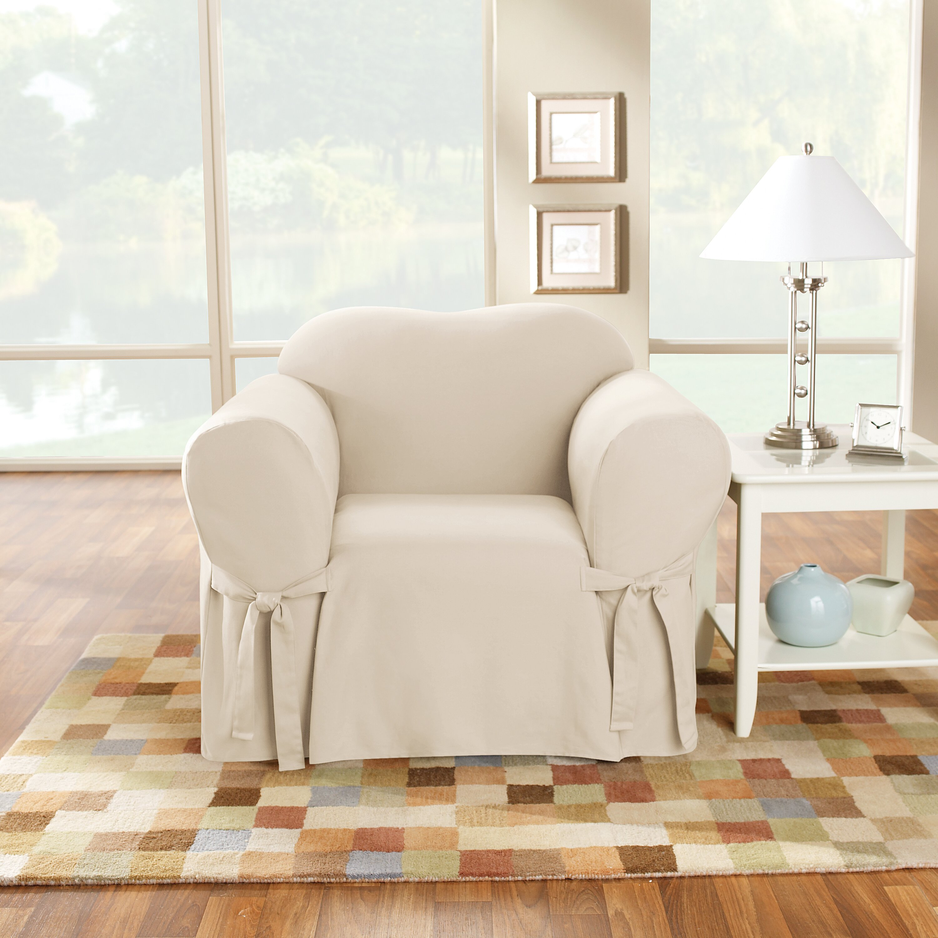 Slipcovers Living Room Chairs Sure Fit Cotton Duck Box Cushion Arm Chair Slipcover Reviews