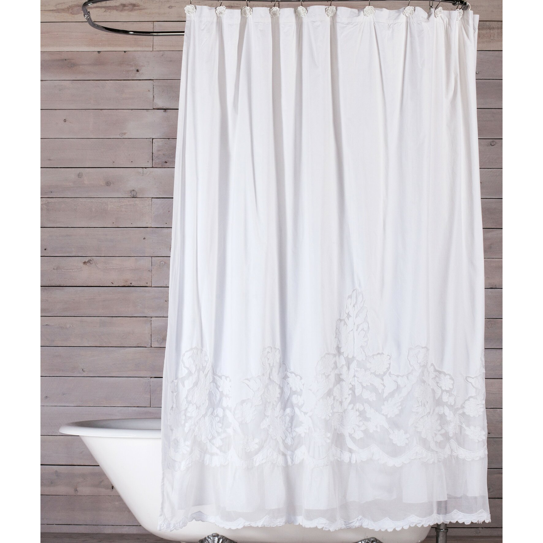 Pom Pom At Home Caprice Cotton Shower Curtain  Reviews Wayfair - Shower curtain