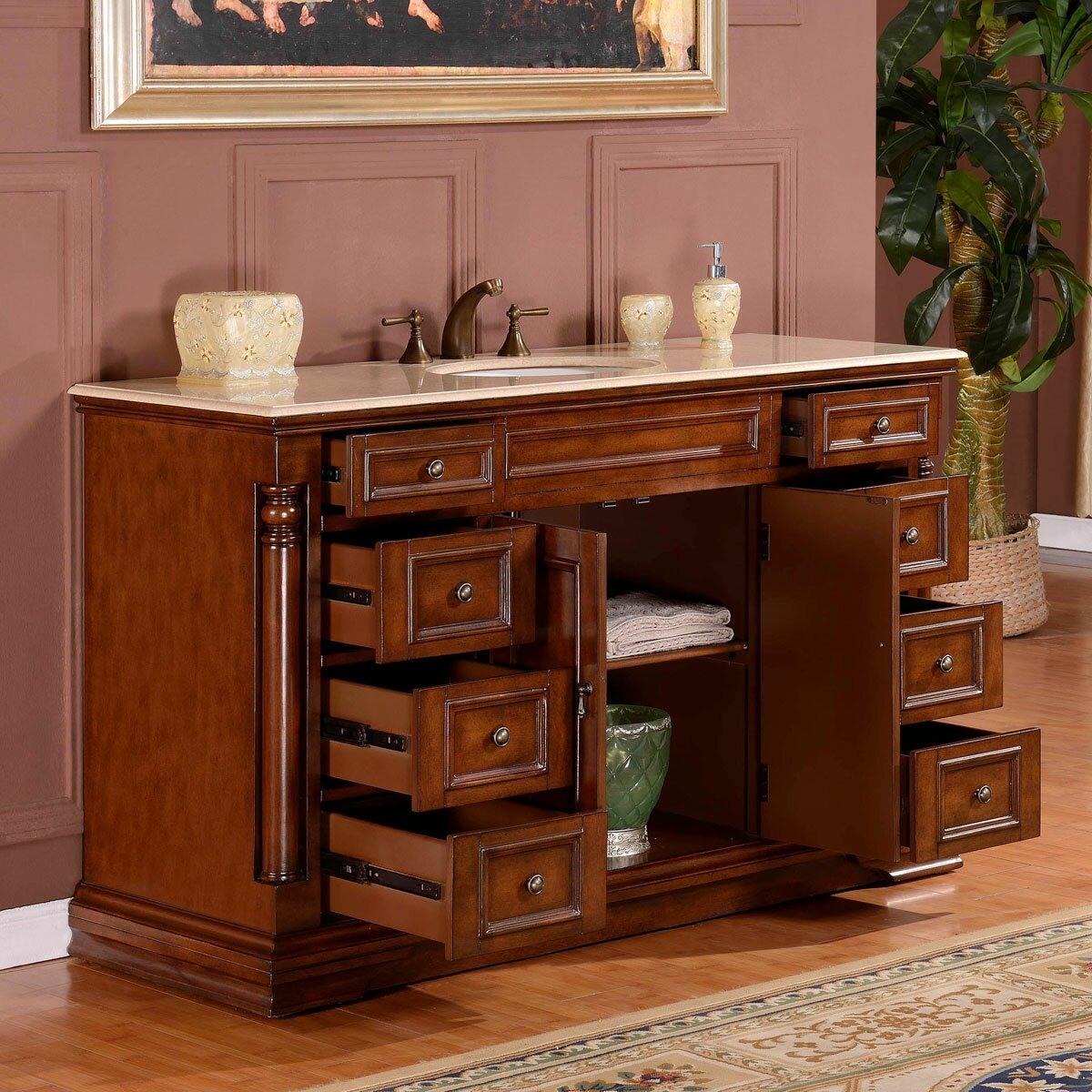 Bathroom Vanity Set Silkroad Exclusive 58 Single Sink Cabinet Bathroom Vanity Set