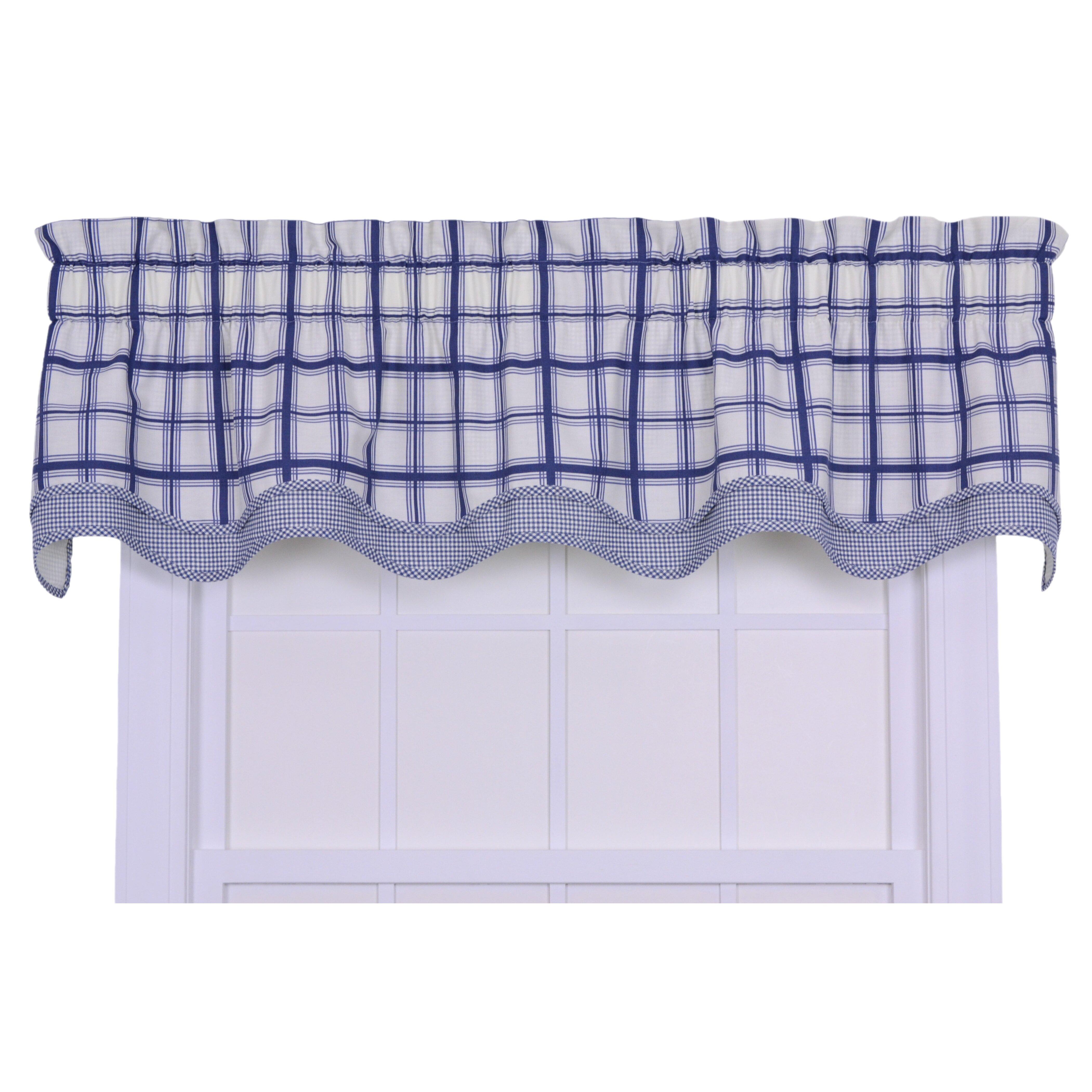 Plaid Kitchen Curtains Valances Check Plaid Valances Kitchen Curtains Youll Love Wayfair