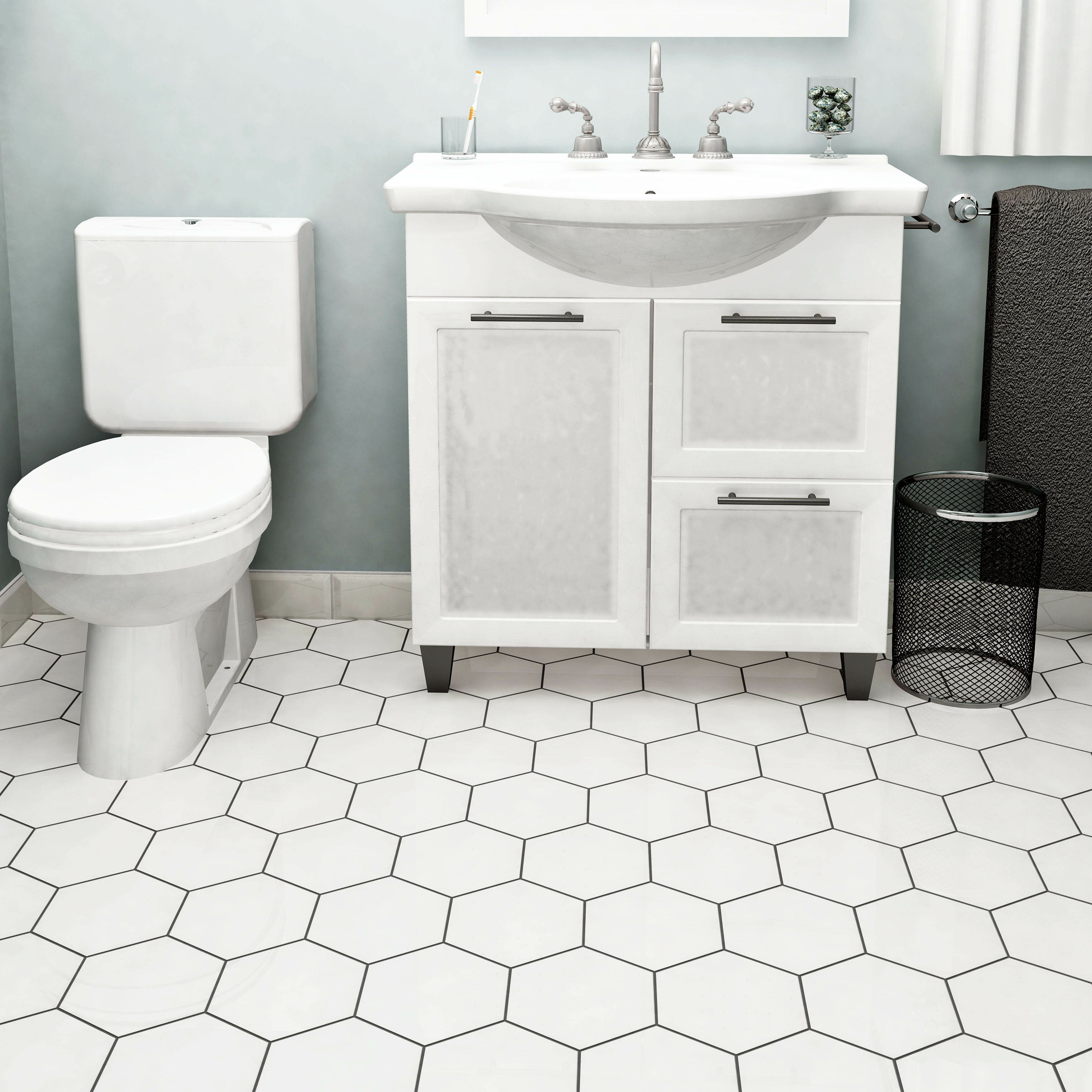 Elitetile hexitile 7 x 8 porcelain mosaic tile in glossy for Bathroom designs 8x7
