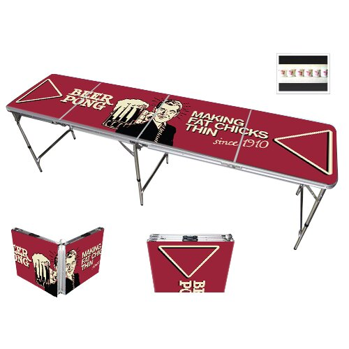 Red Cup Pong Comedic Design 8' Folding Beer Pong Table with Bottle Opener, Ball Rack and 6 Pong Balls