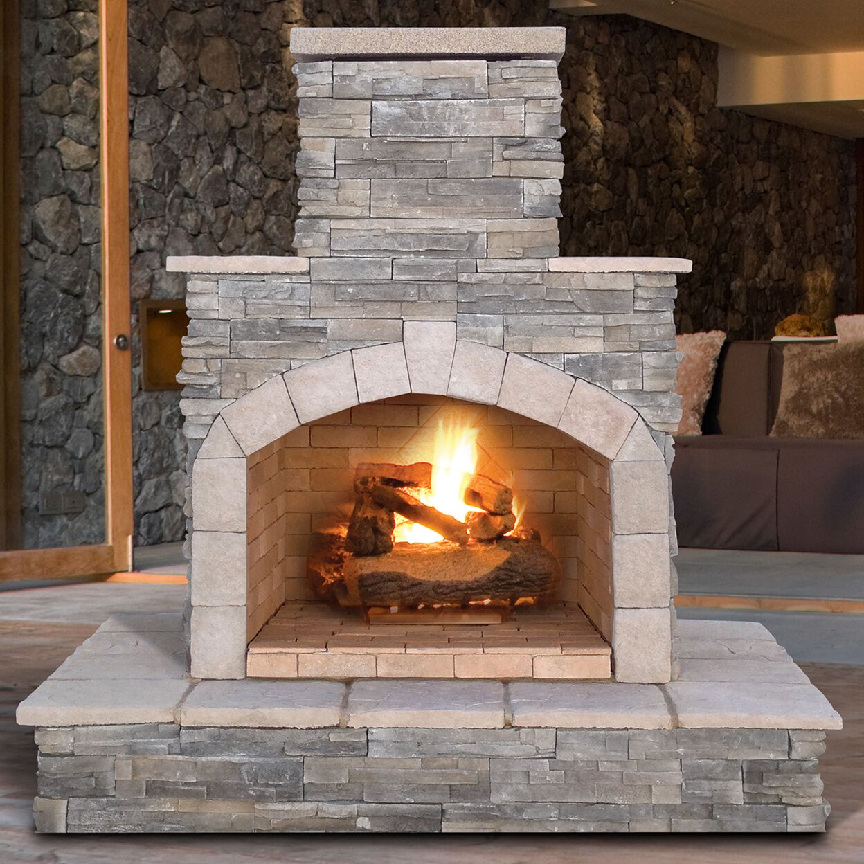 Calflame natural stone propane gas outdoor fireplace for Where to buy outdoor fireplace