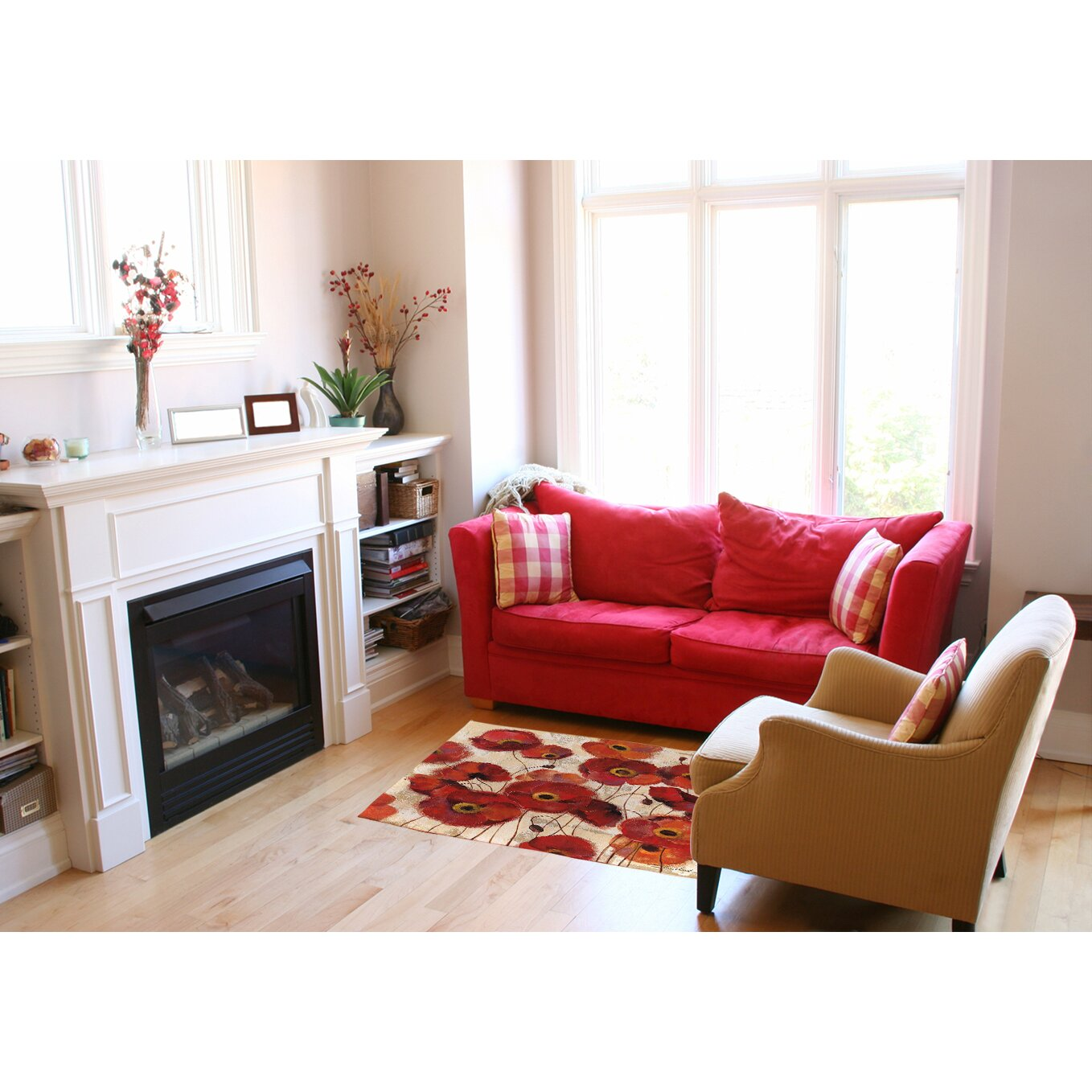 Red Living Room Rug Manual Woodworkers Weavers Bold Poppies Red Area Rug Reviews