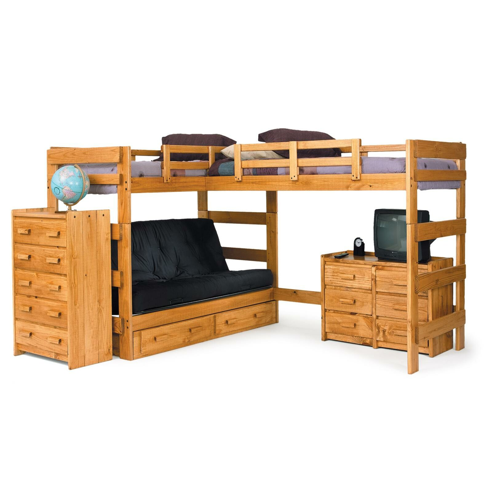 Double bunk beds with slide - L Shaped Bunk Bed