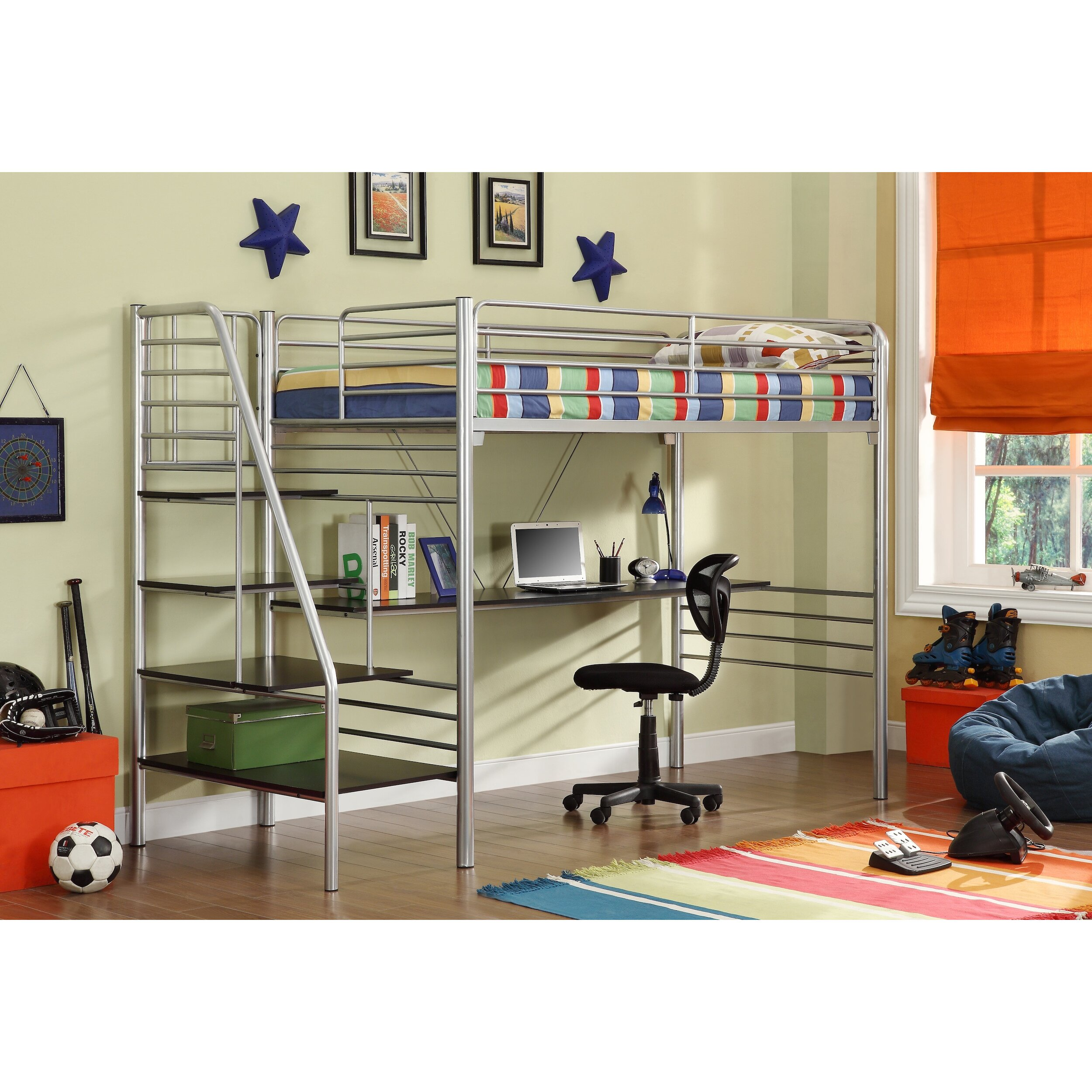 Metal bunk bed with slide - Donco Kids Twin Loft Bed