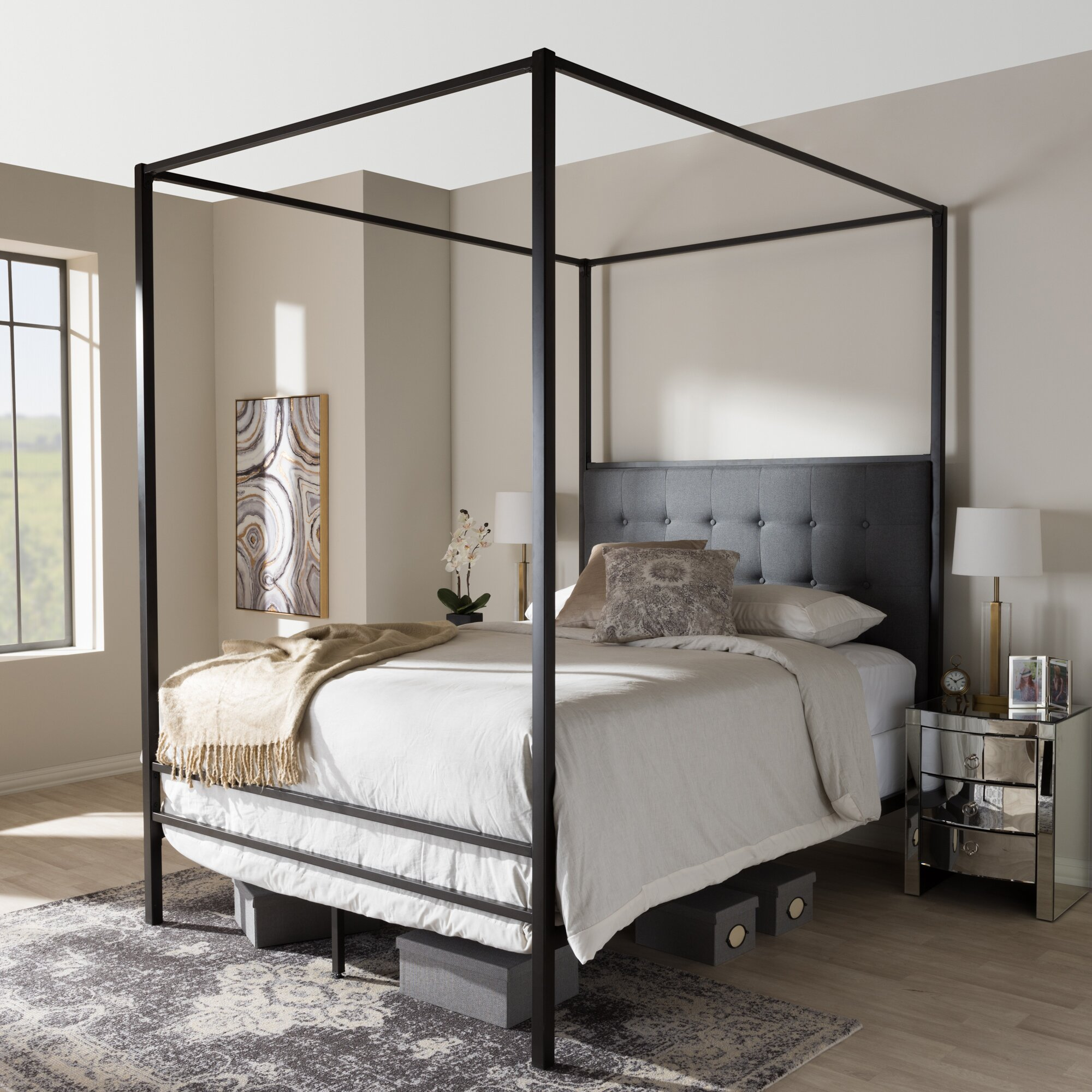 Canopy Beds You'll Love | Wayfair - Baxton Studio Margherita Queen Canopy Bed