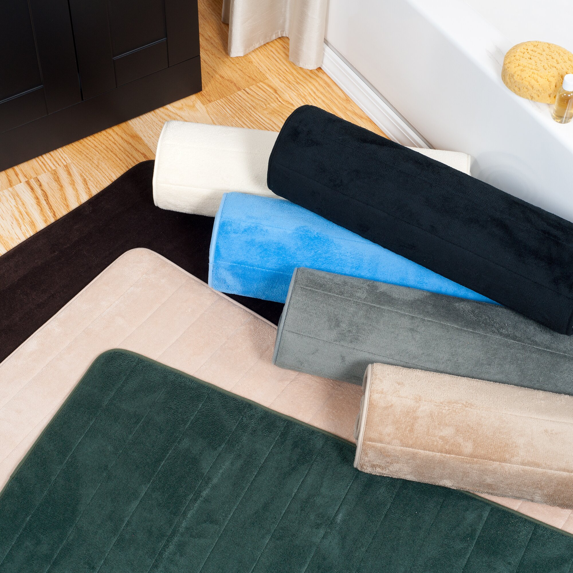 Lavish Home Extra Long Striped Memory Foam Bath Mat. Lavish Home Extra Long Striped Memory Foam Bath Mat  amp  Reviews