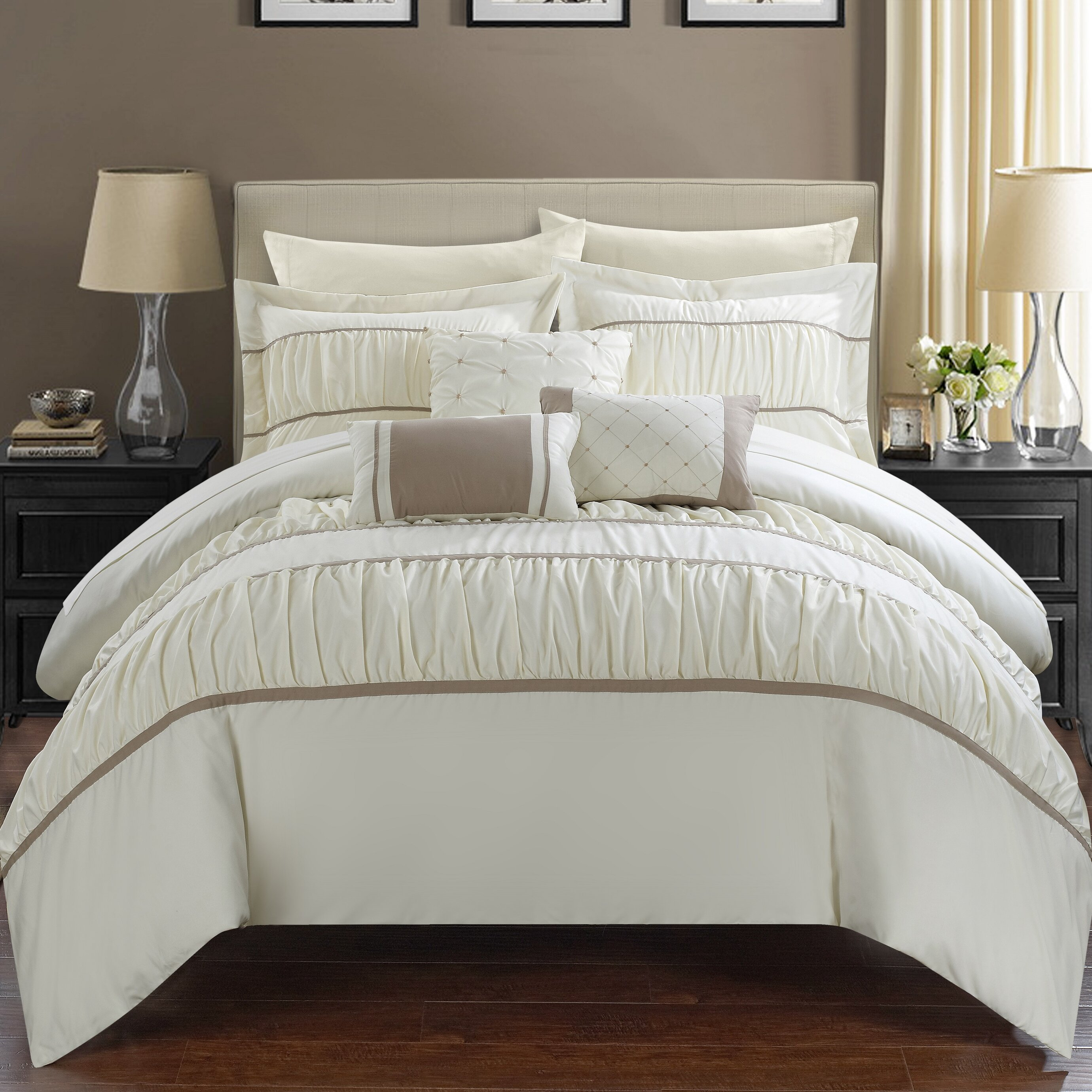 chic home cheryl pleated and ruffled 10 piece duvet set & reviews