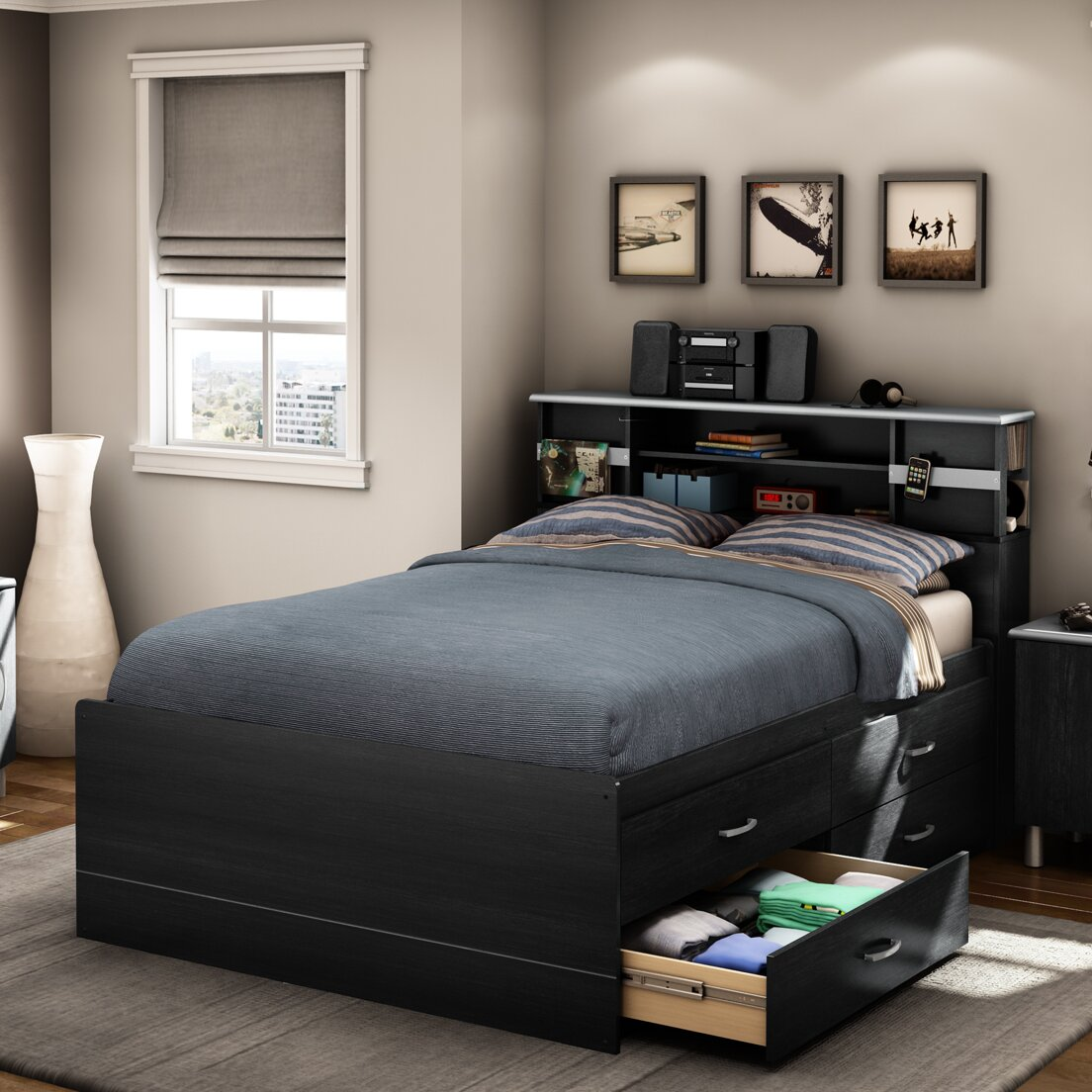 south shore cosmos storage platform bed