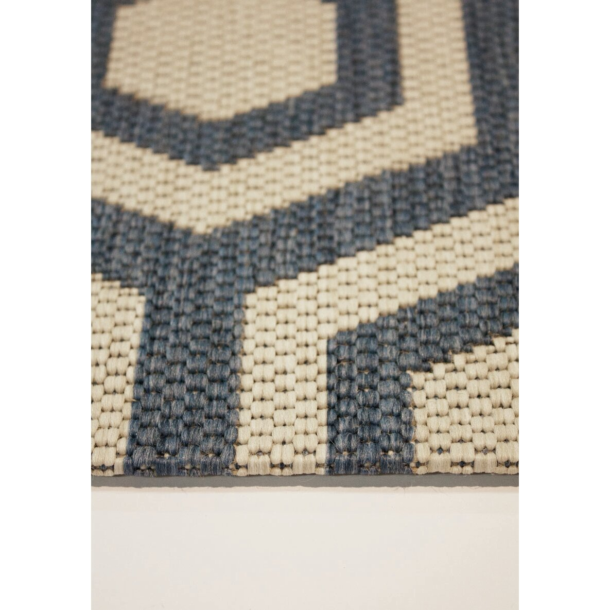 Kalora Coast Honeycomb Flatweave Cream Navy Indoor Outdoor