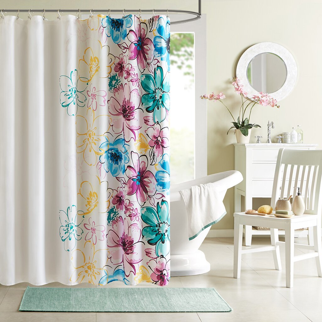 Mint green shower curtain and rugs - Olivia Microfiber Shower Curtain