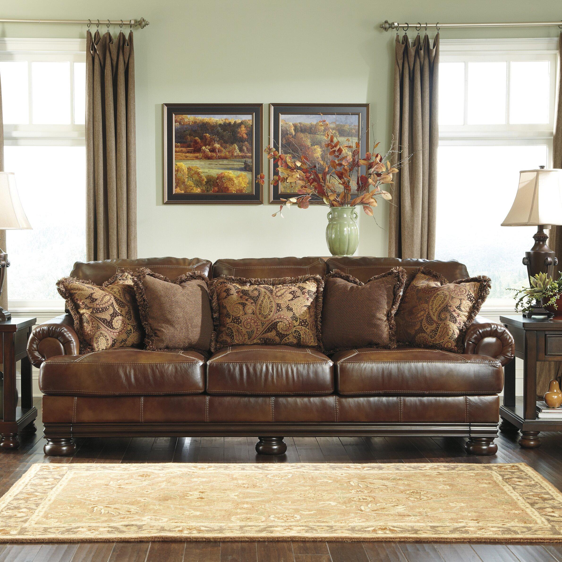 Signature Design By Ashley Hutcherson Leather Sofa Reviews Wayfair