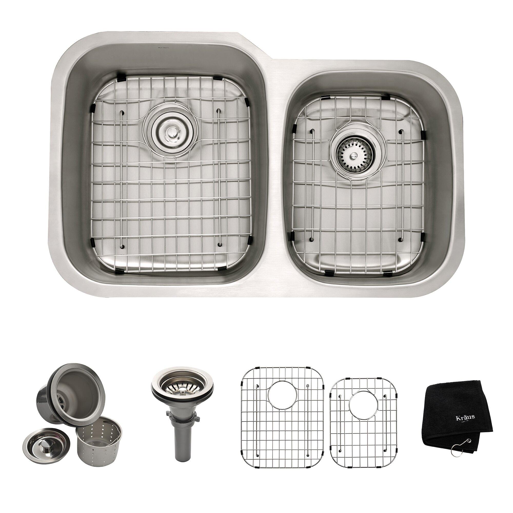 """kraus 31.5"""" x 20.5"""" 6 piece undermount double bowl kitchen sink"""