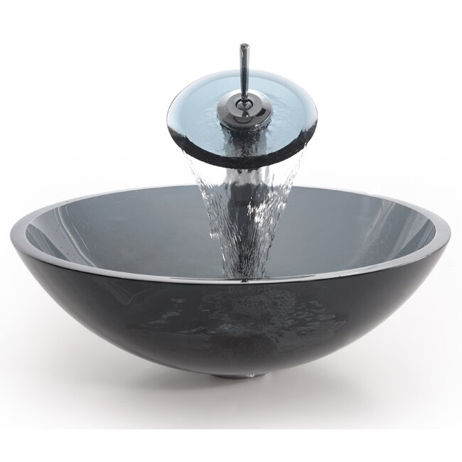 Where Are Kraus Sinks Manufactured : Kraus Glass Circular Single-Hole Waterfall Faucet Vessel Bathroom Sink ...