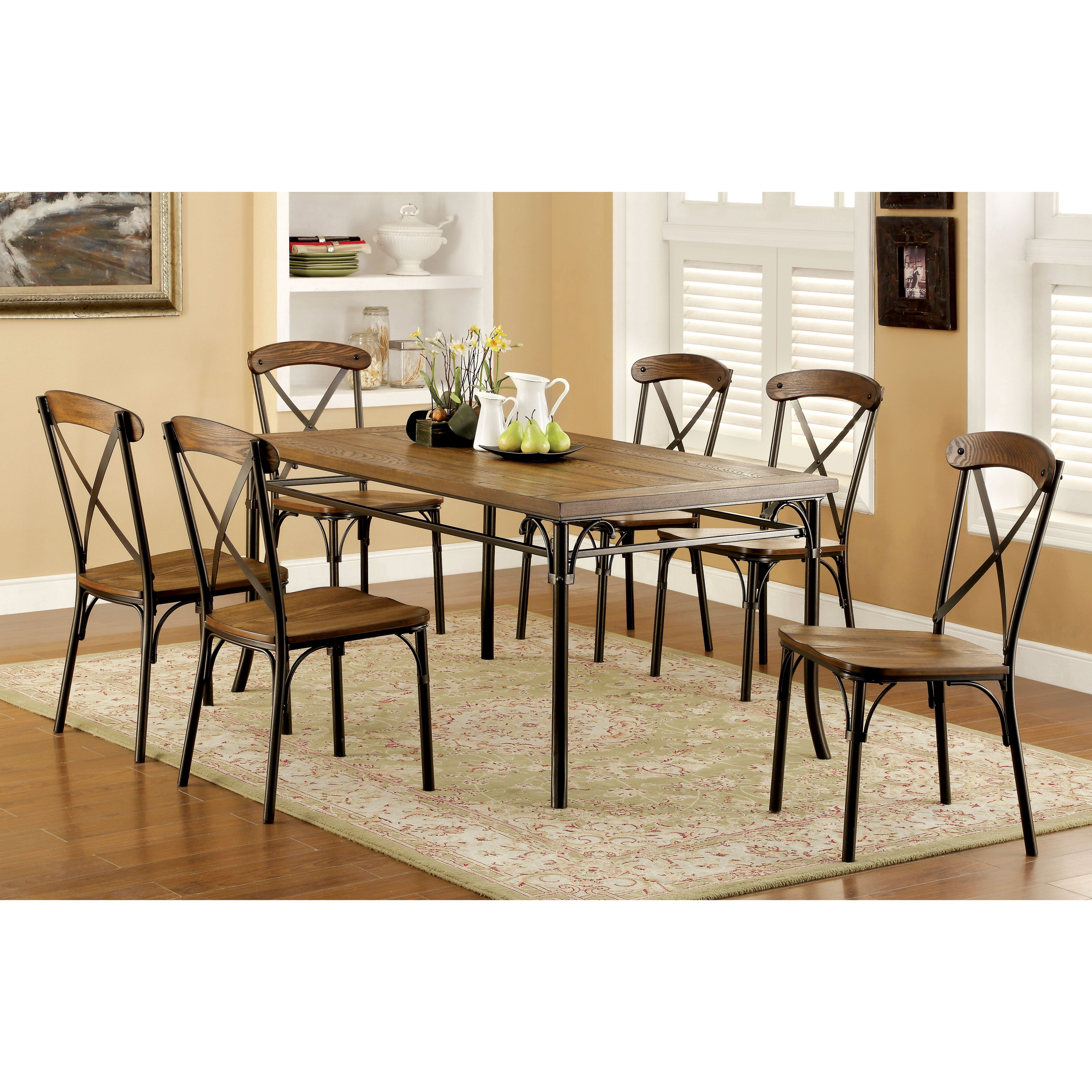 furniture of america bethannie cottage style 2tone oval dini