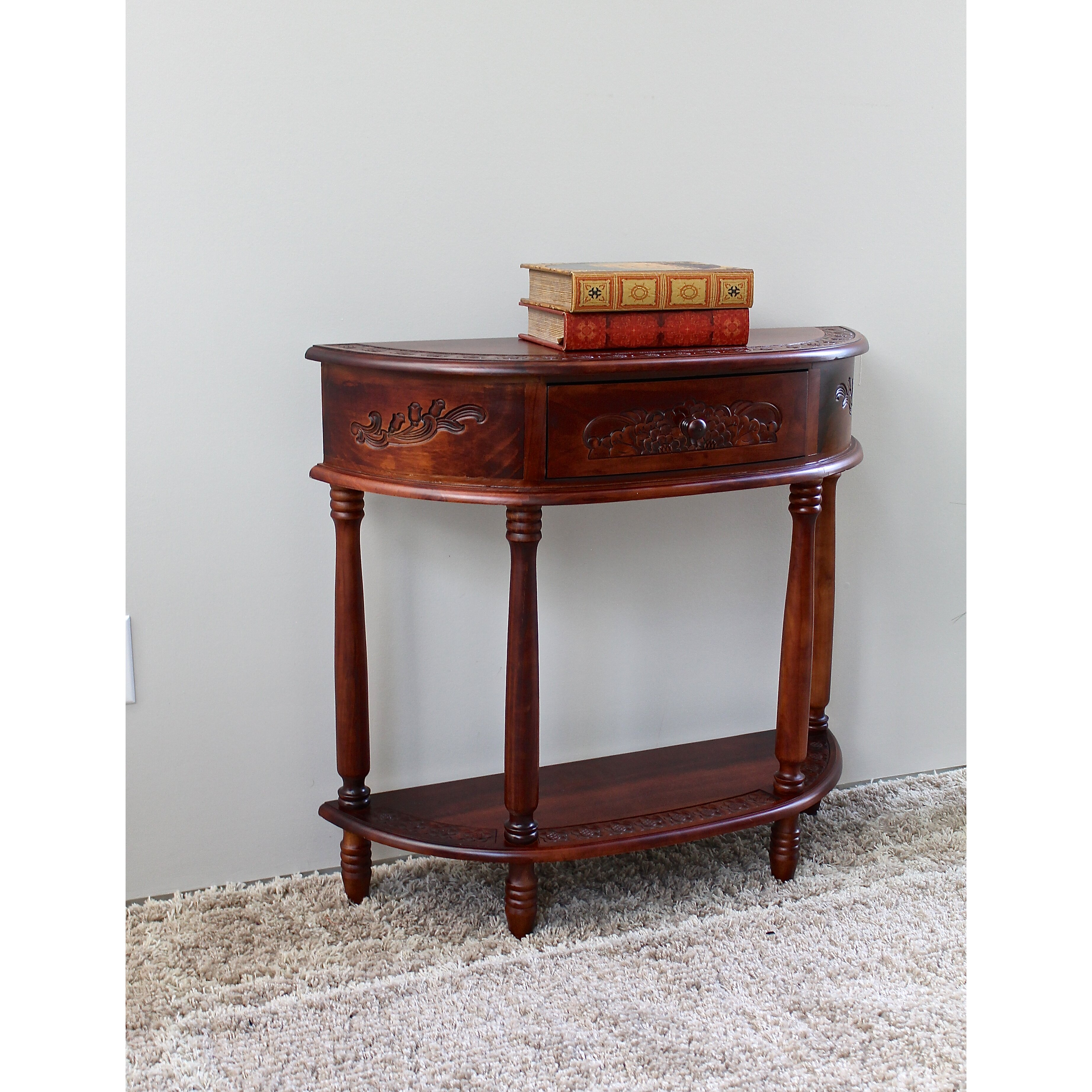 Scrolled metal and wood coffee table - Windsor Hand Carved Wood Console Table